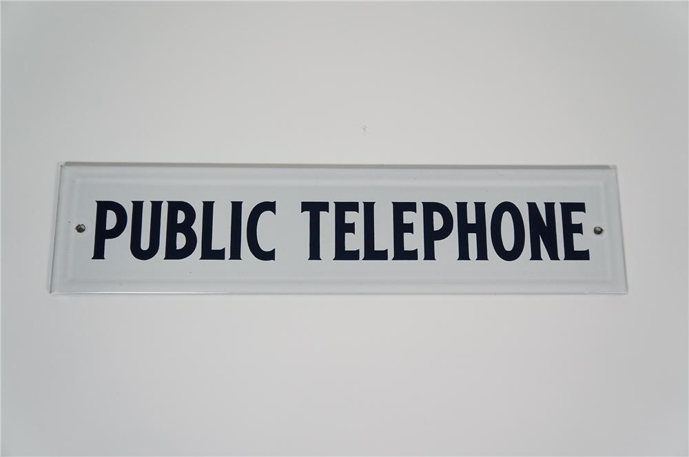 Found unused 1930s Public Telephone porcelain sign. - Front 3/4 - 133252