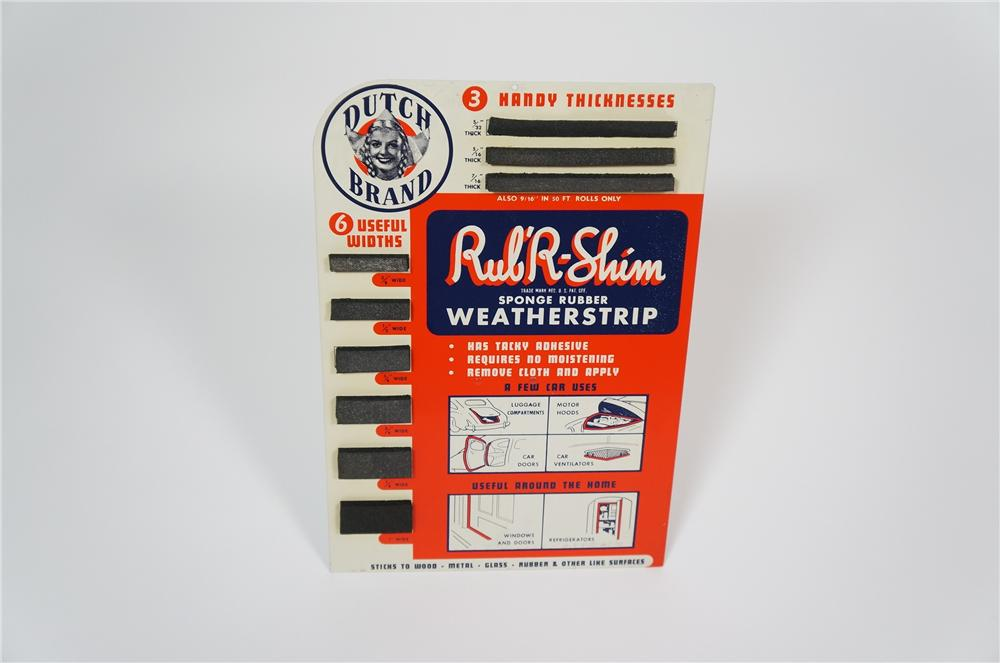 N.O.S. 1930s-40s Dutch Brand Automotive Weather-strip metal counter-top display. - Front 3/4 - 133253