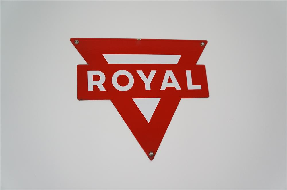 "N.O.S. 1950s Conoco ""Royal"" Gasoline single-sided die-cut porcelain pump plate sign. - Front 3/4 - 133256"