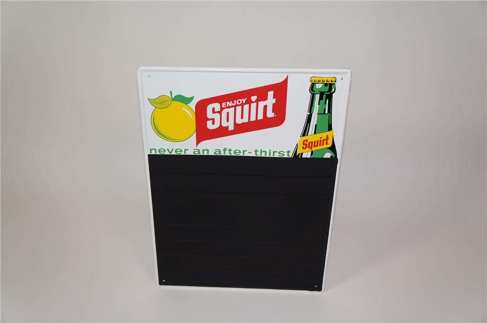 N.O.S. 1960s Squirt Soda tin painted menu board with bottle graphic. - Front 3/4 - 133259