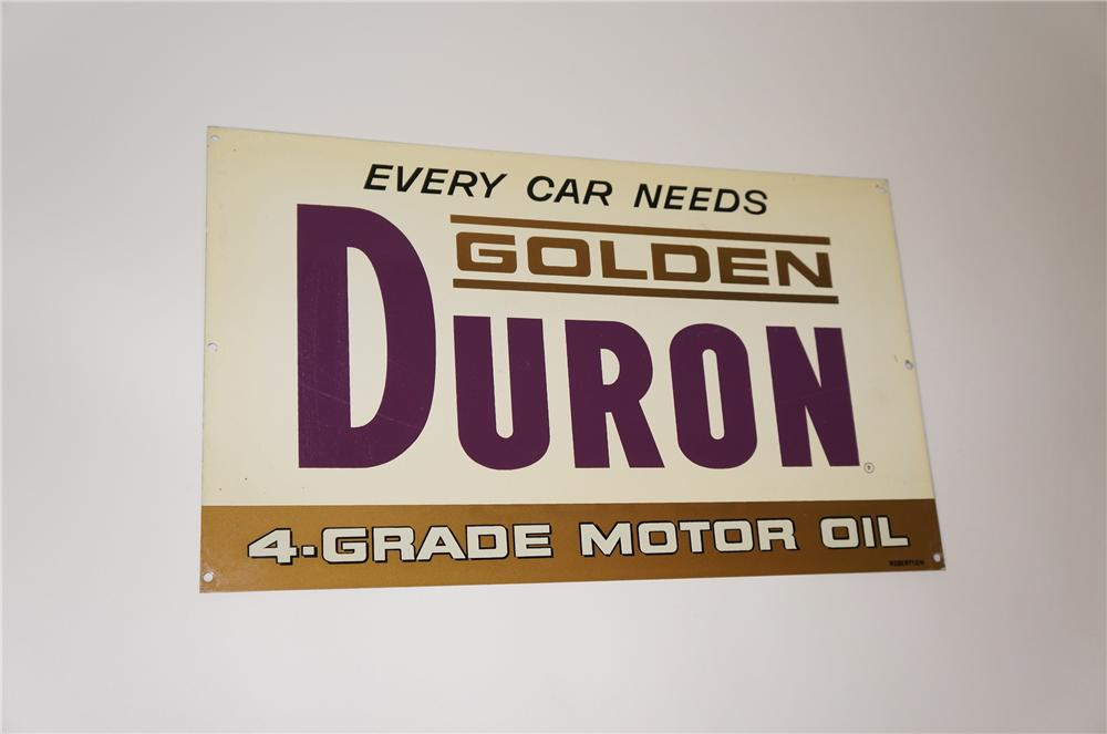 N.O.S. 1950s Golden Duron Motor Oil double-sided tin painted service station sign.  Never used! - Front 3/4 - 133260