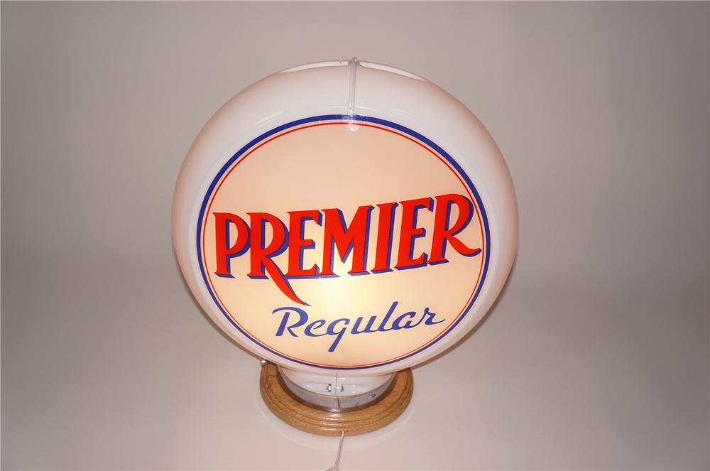 Nearly impossible to fine 1940s-50s Premier Regular Gasoline glass lens globe in capcolite body. - Front 3/4 - 133263