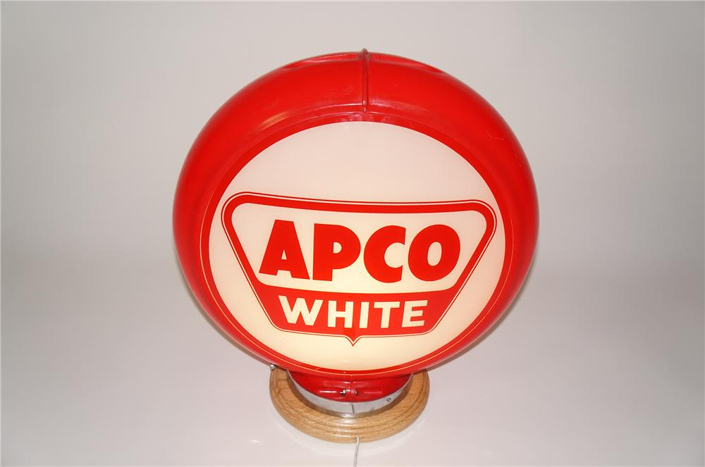 1950s Apco Gasoline White glass lens gas pump globe presented in a plastic body. - Front 3/4 - 133267