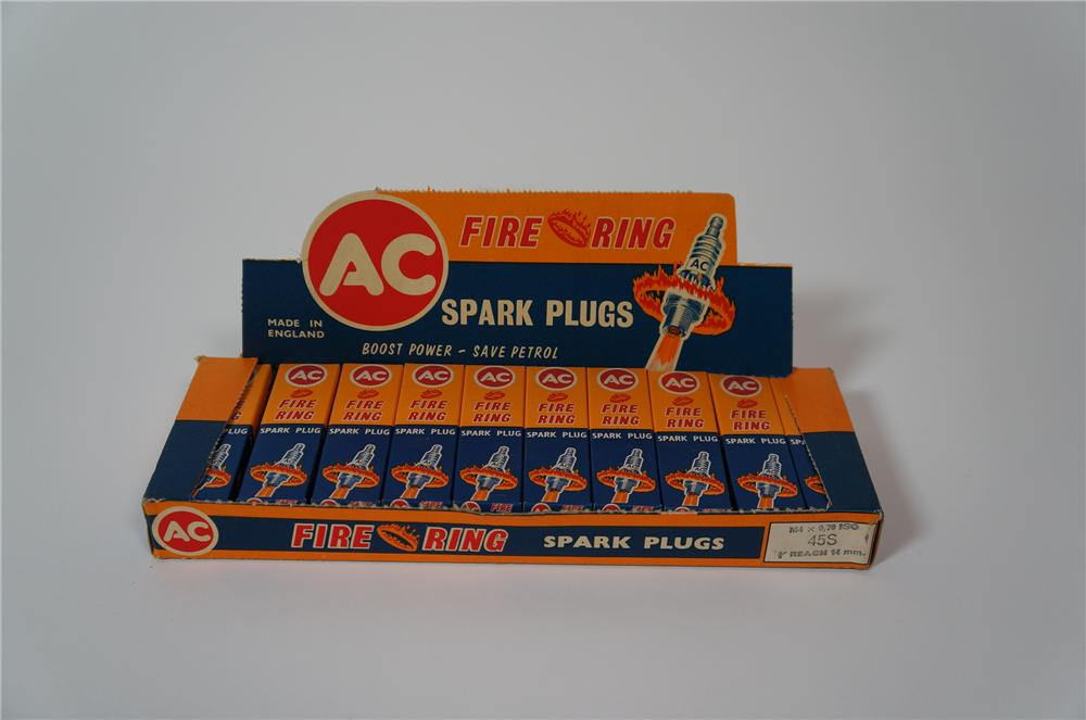 Killer N.O.S. automotive garage display box of AC Fire Ring Spark Plugs still full and unused! - Front 3/4 - 133272