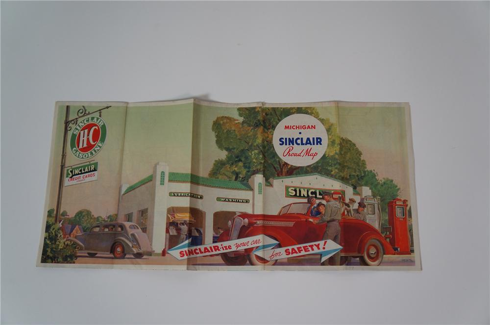 Good looking 1937 Sinclair Gasoline Road Map of Michigan with outstanding period graphics. - Front 3/4 - 133273