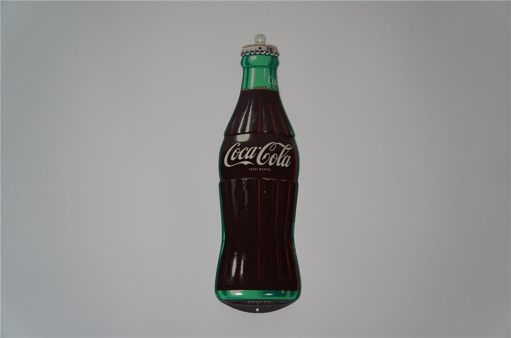 Rarely seen 1950s Coca-Cola die-cut three-dimensional tin bottle sign.  Appears to have never been used. - Front 3/4 - 133274