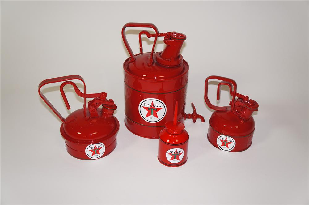 Lot of four restored Texaco Oil period service station cans. - Front 3/4 - 133275