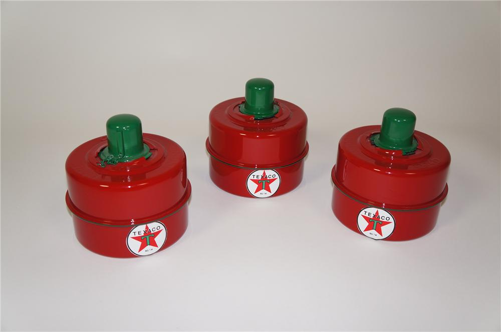 Lot of three 1930s Texaco Oil restored safety road flare metal canisters. - Front 3/4 - 133276