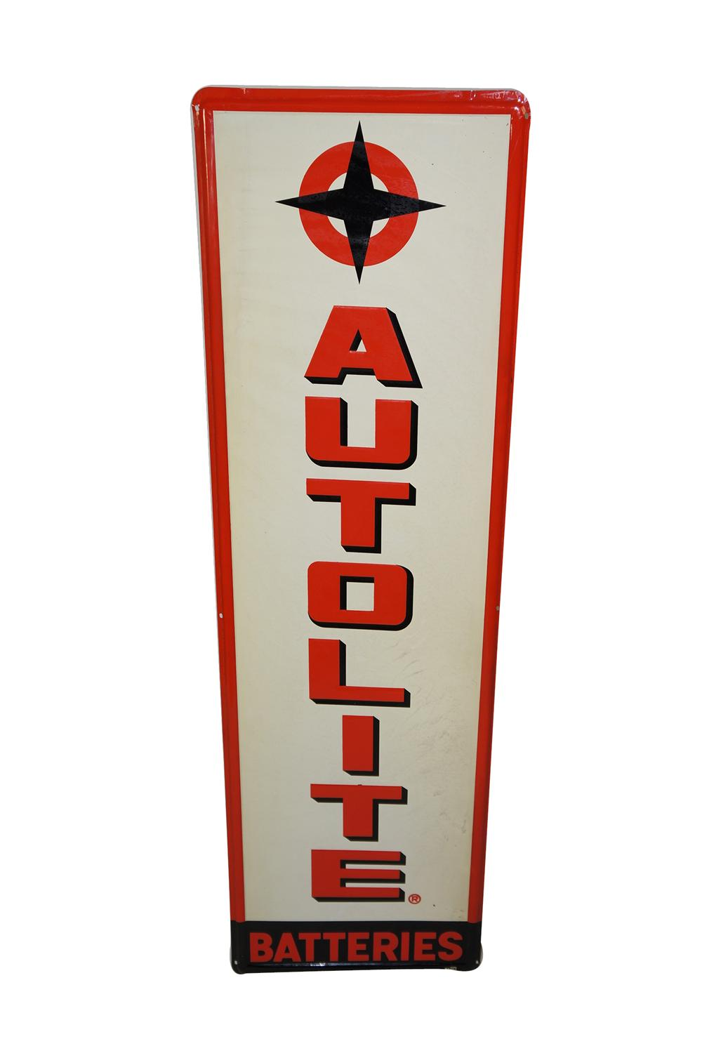 N.O.S. 1950s-60s Ford AutoLite Batteries single-sided sided tin painted garage sign. - Front 3/4 - 133285