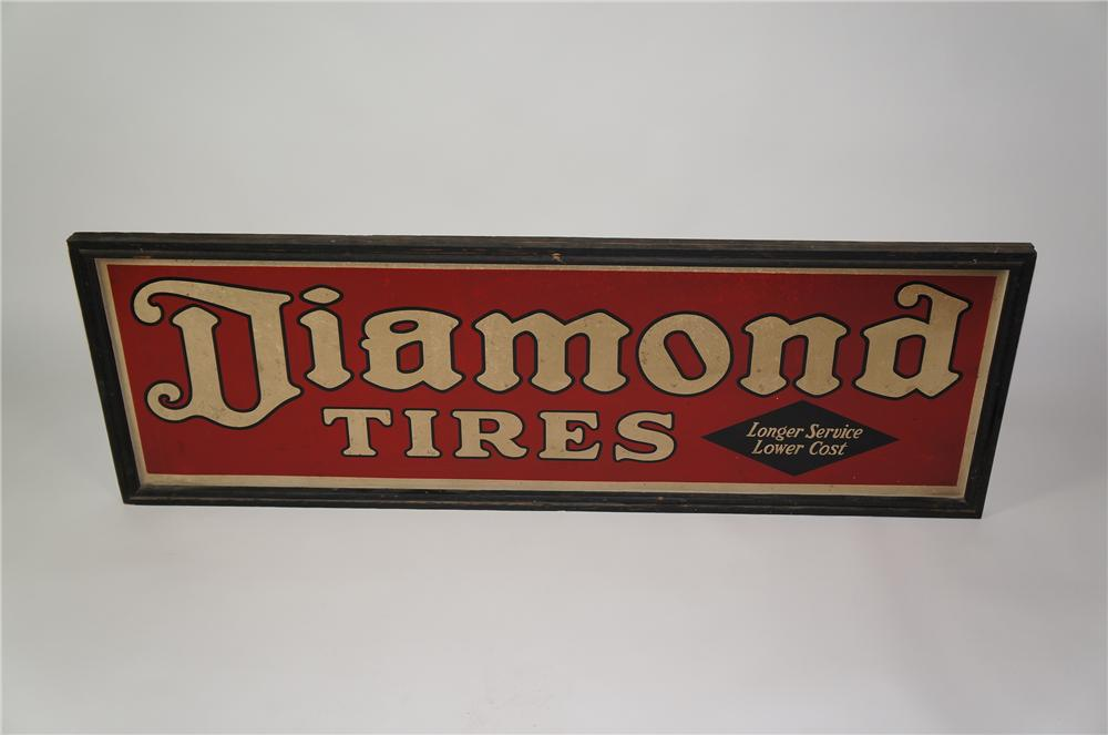 Museum quality 1930s Diamond Tires tin painted wood framed garage sign. - Front 3/4 - 133286