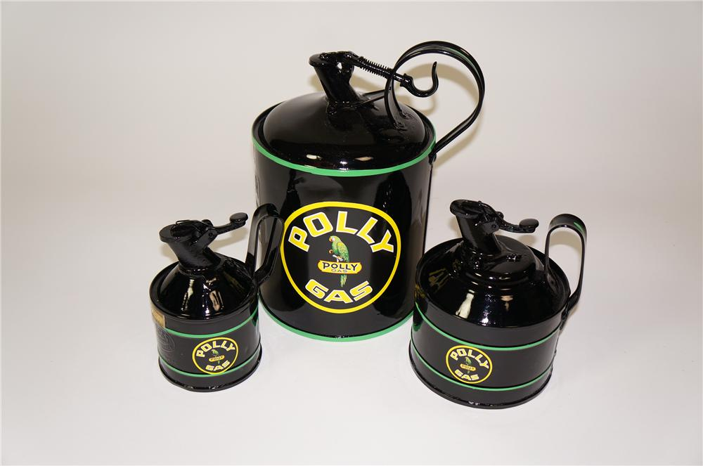 Lot of three restored Polly Oil service department safety fluid/oil cans with trigger spouts. - Front 3/4 - 133295