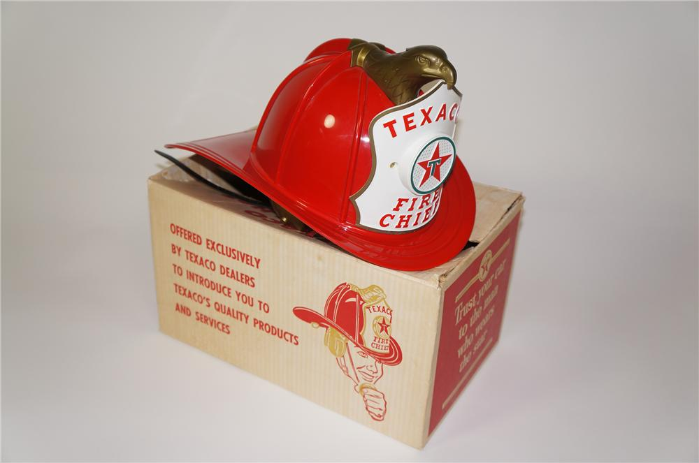 Killer 1960s Texaco Fire Chief childs promotional helmet with built in microphone/speaker. - Front 3/4 - 133301