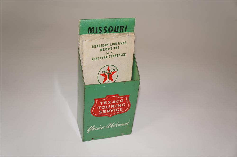 Fabulous 1930s Texaco Oil service station metal road map display. - Front 3/4 - 133306