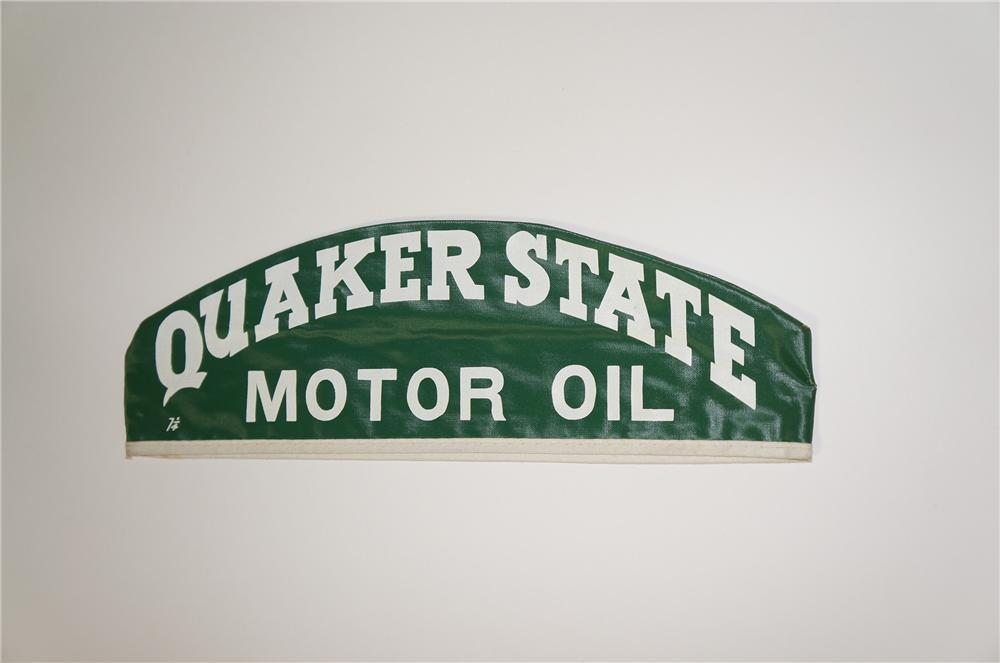N.O.S. 1950s Quaker State Motor Oil automotive garage mechanics hat.  Never used. - Front 3/4 - 133315