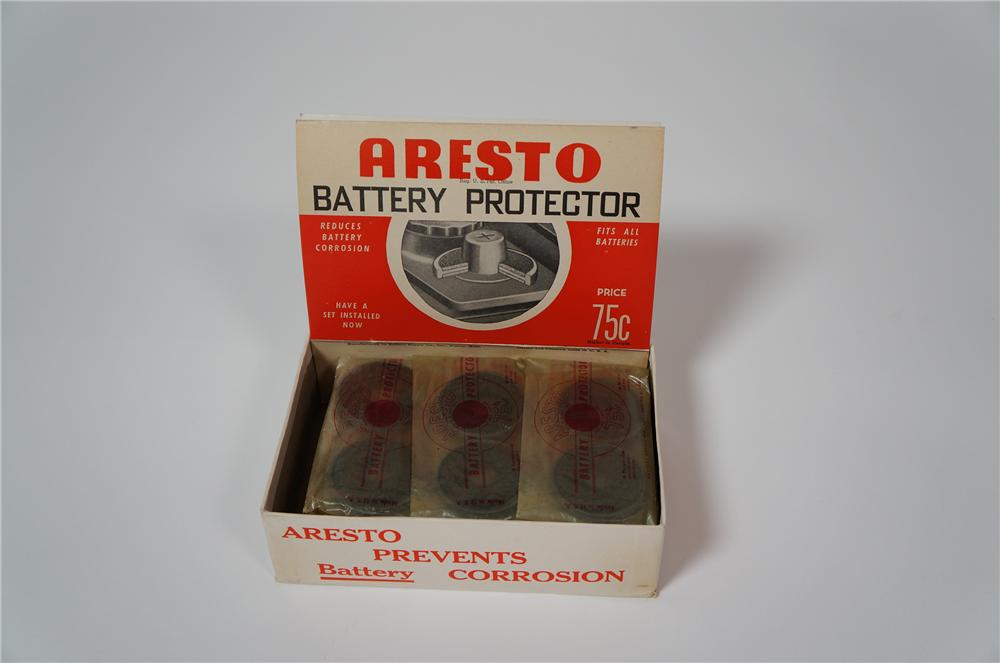 N.O.S. 1950s Aresto Battery Protector automotive garage counter-top display still full!  Never used! - Front 3/4 - 133317