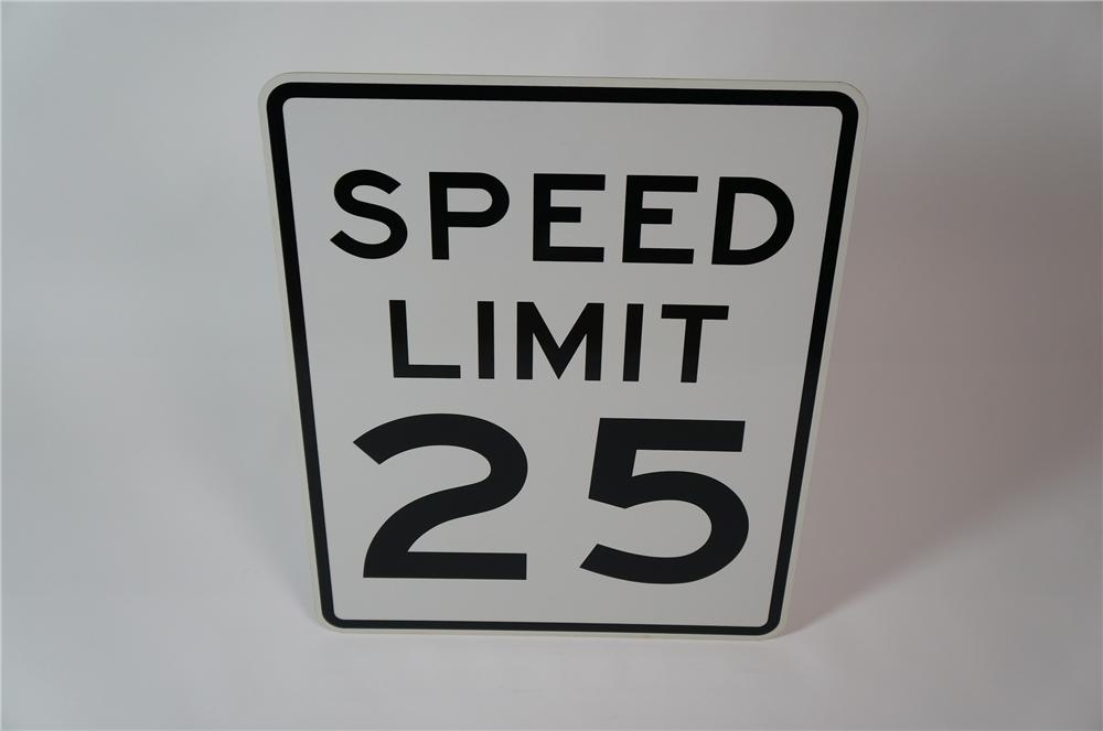 N.O.S. Speed Limit 25 metal highway road sign.  Found unused! - Front 3/4 - 133318