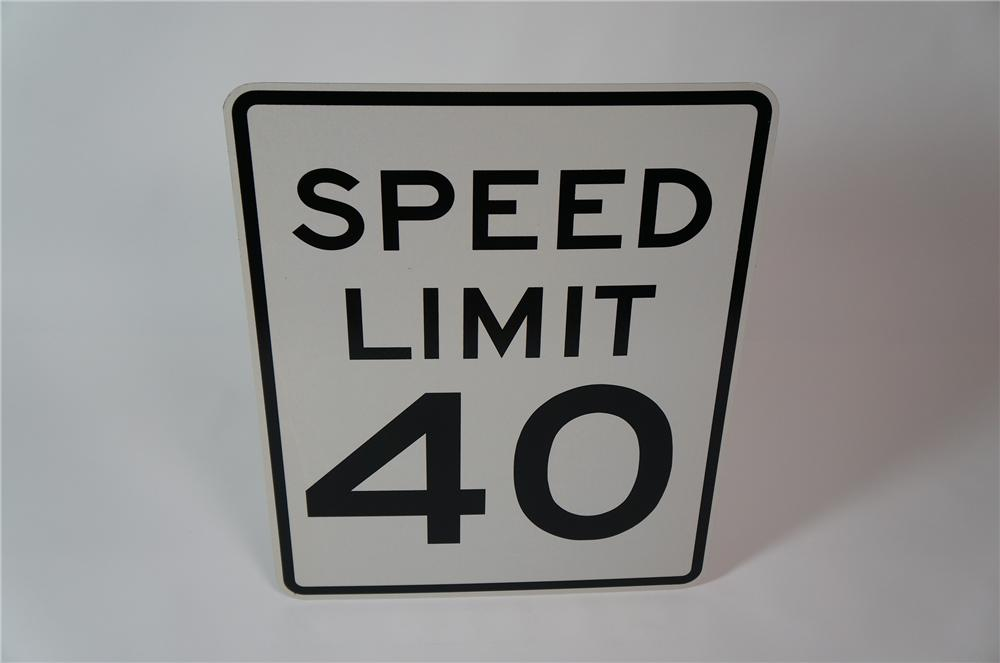 N.O.S. Speed Limit 40 metal highway road sign.  Found unused! - Front 3/4 - 133319