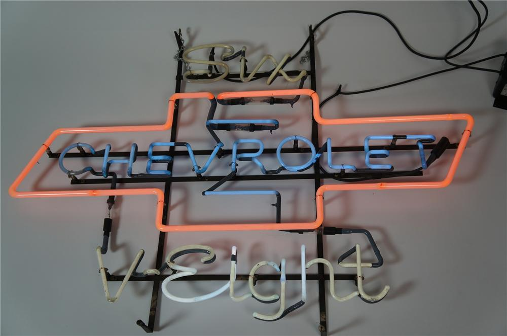 Killer 1950s Chevrolet Six-V-Eight dealership showroom neon sign with bow-tie logo.  Lights brilliantly! - Front 3/4 - 133325