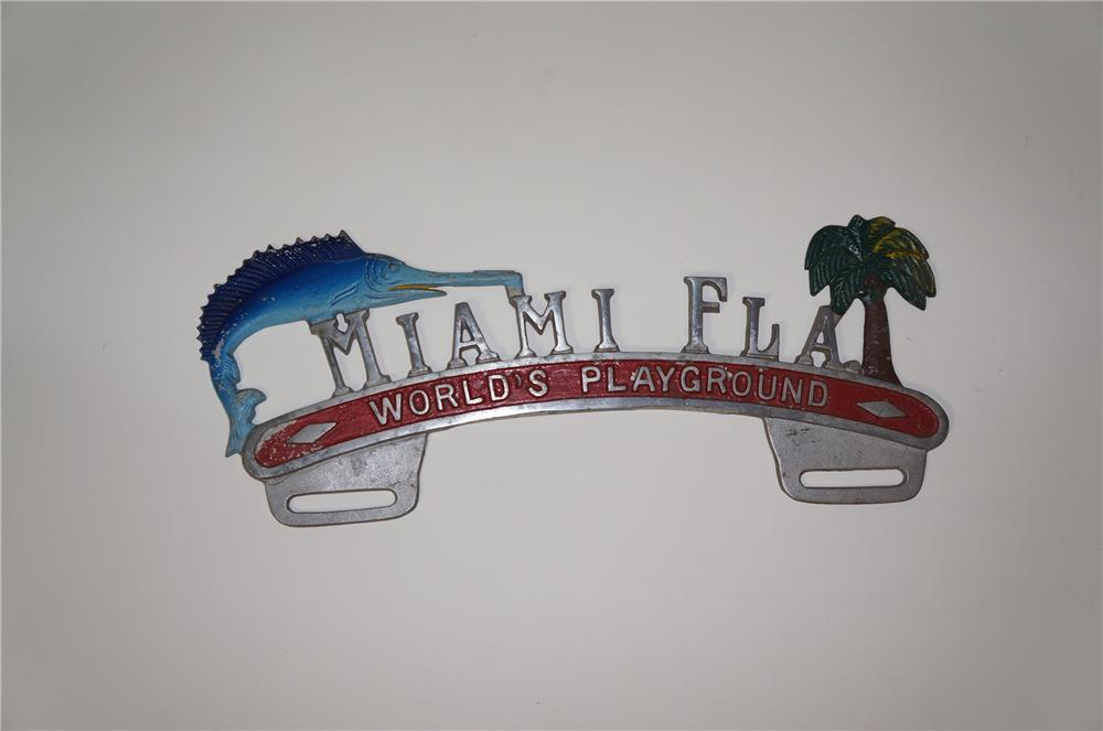 """1930s-40s Miami Florida """"Worlds Playground"""" license plate attachment sign. - Front 3/4 - 133327"""