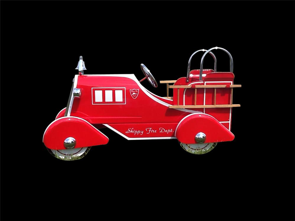 "1950s Murray ""Skippy"" restored Fire truck.  Room for two children one to pedal one to stand. - Front 3/4 - 133342"