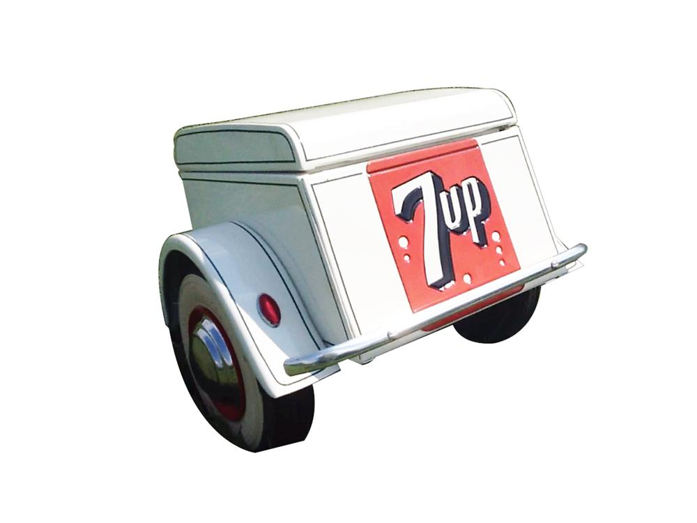 "Custom made ""7-up"" pull-behind trailer for pedal cars. - Front 3/4 - 133344"