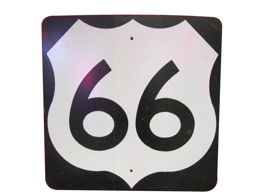 Historical vintage U.S. Route 66 highway road sign from Oklahoma. - Front 3/4 - 133350