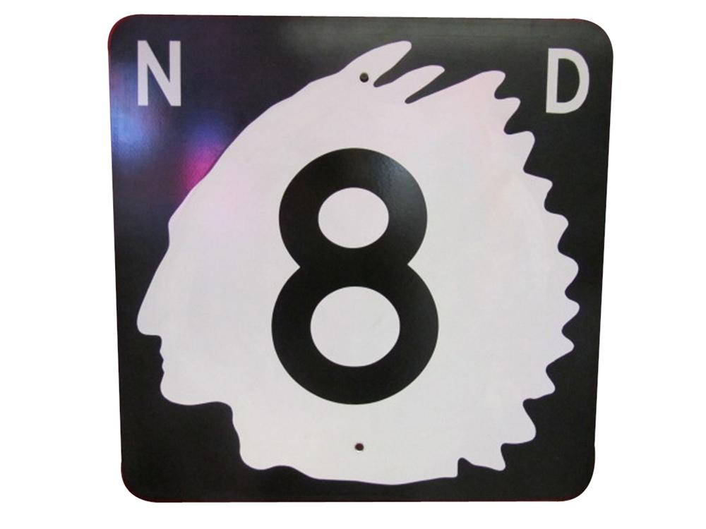 Wonderful vintage North Dakota Highway 8 metal road sign with Native American Chieftain logo. - Front 3/4 - 133351