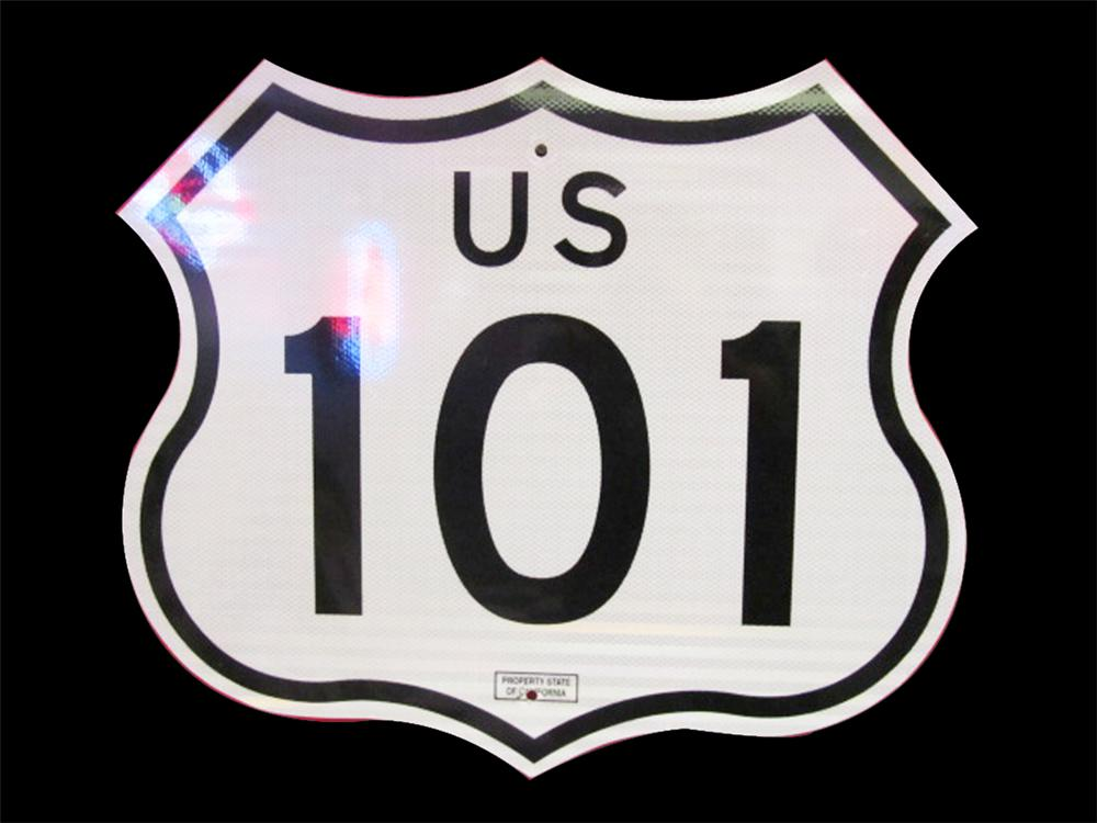 Highly prized West Coast U.S. Route 101 metal highway road sign in pristine condition. - Front 3/4 - 133352