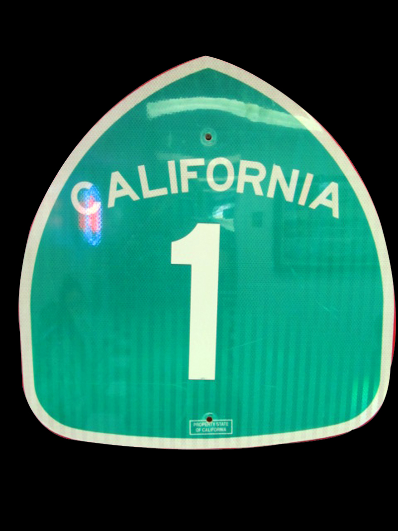 "Iconic vintage California Highway 1 ""Pacific Coast Highway"" metal road sign. - Front 3/4 - 133353"