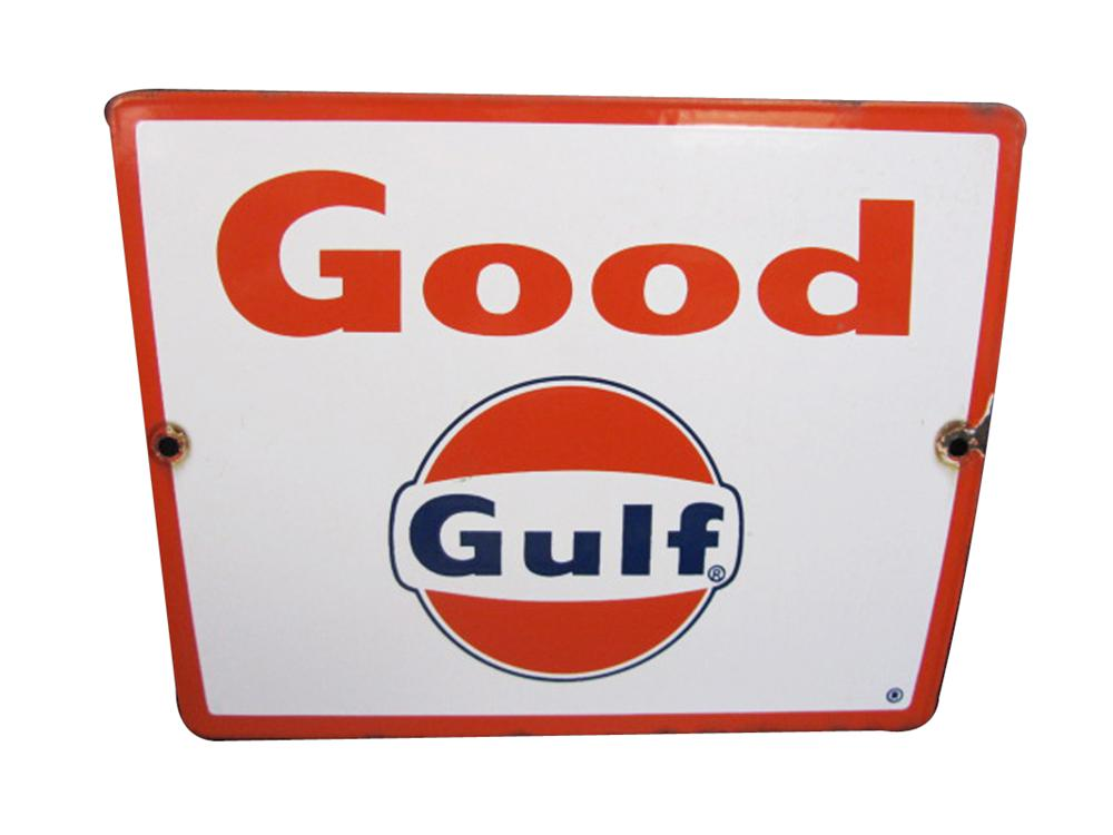 Late 1950s Good Gulf Gasoline porcelain pump plate sign with Gulf logo. - Front 3/4 - 133356