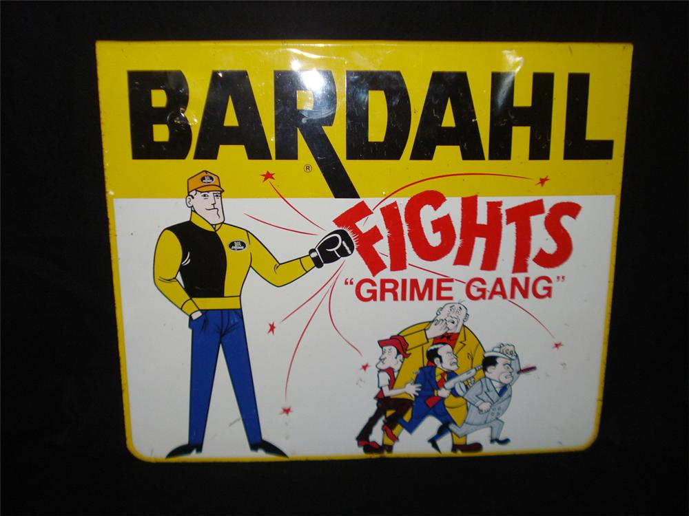 1960s N.O.S. Bardahl Fights Grime Gang single-sided tin sign with graphics. - Front 3/4 - 133357