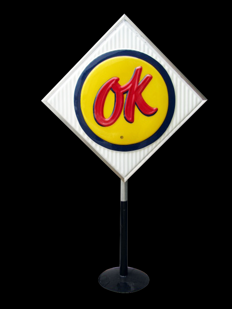 Worthy of bragging rights vintage Chevrolet OK Used Cars single-sided light-up dealership sign on stand. - Front 3/4 - 133361