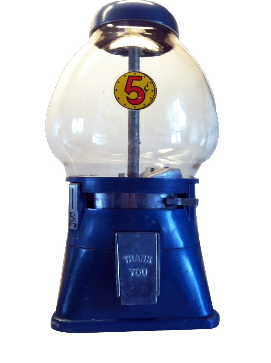 Fabulous 1940s Northwestern five cent glass domed gumball/peanut machine. - Front 3/4 - 133366