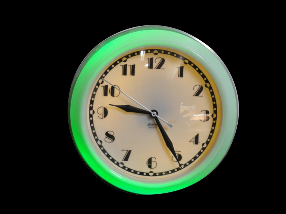 Beautiful 1930s neon diner clock. Lights and works well. - Front 3/4 - 133369