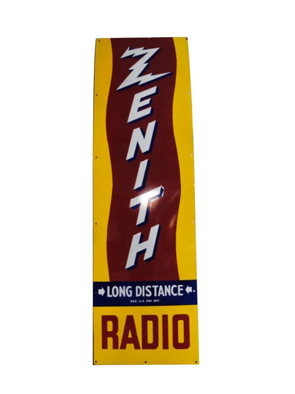 "Impressive 1940s Zenith ""Long Distance Radio"" single-sided porcelain sign. - Front 3/4 - 133376"