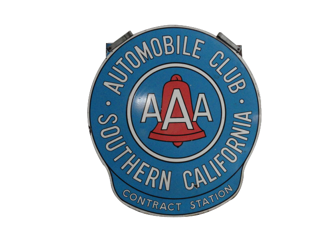 Very nice vintage Automobile Club of Southern California double-sided porcelain sign with hanging brackets. - Front 3/4 - 133378