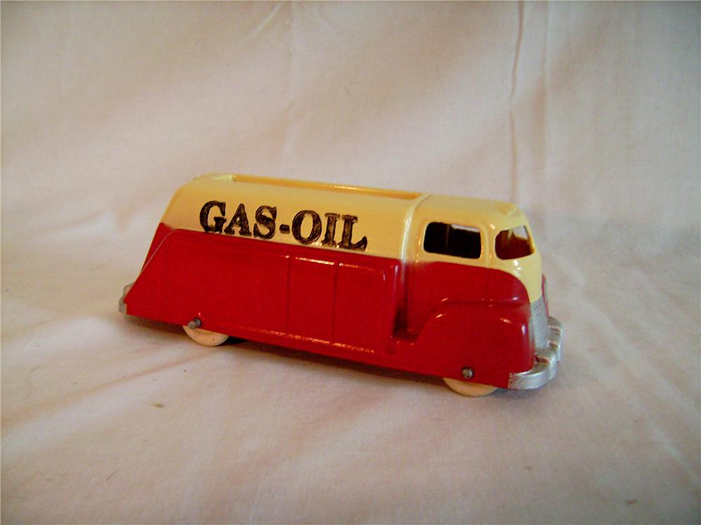 Fully restored 1940s Silk Toys Gas-Oil tanker truck with original rubber white tires. - Front 3/4 - 133380