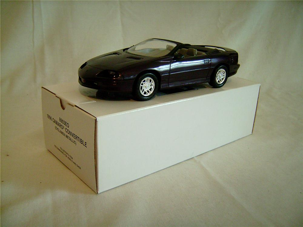 N.O.S. 1996 Camaro Convertible dealer promotional model in Cyclamen Metallic.  Still in the box. - Front 3/4 - 133382