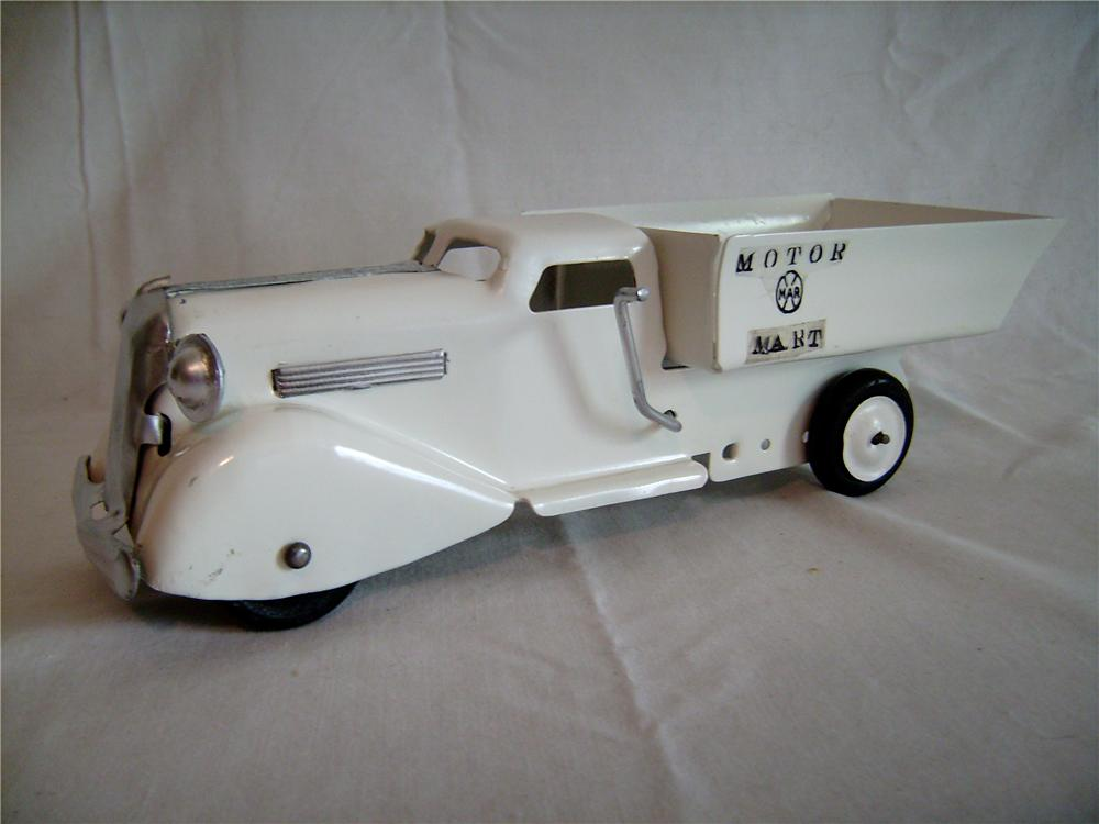 1930s Louis Marx Motor Mart Dump Truck in restored condition. - Front 3/4 - 133393