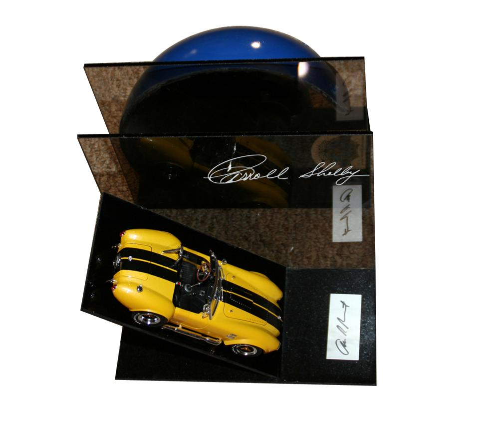 Very neat Shelby Cobra book ends with Carroll Shelbys and Allen Grants signatures. - Front 3/4 - 133398