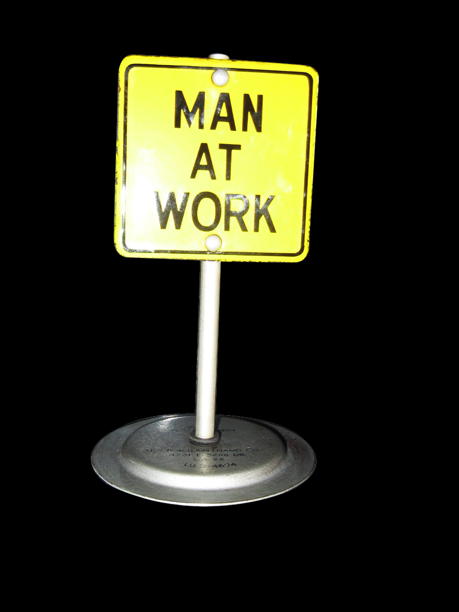 "Unusual Salesman Sample ""Man at Work"" porcelain sign by the Porcelain Enamel Company of Los Angeles. - Front 3/4 - 133412"