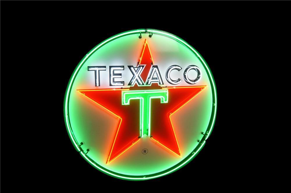 Awesome late 1940s-50s Texaco Service Station single-sided porcelain station sign with animated neon. - Front 3/4 - 133417