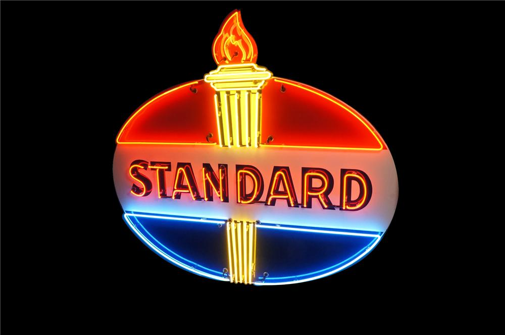 Magnificent 1950s Standard Oil single-sided porcelain neon service station sign with flame.  A wonderful American icon!  Siz... - Front 3/4 - 133423