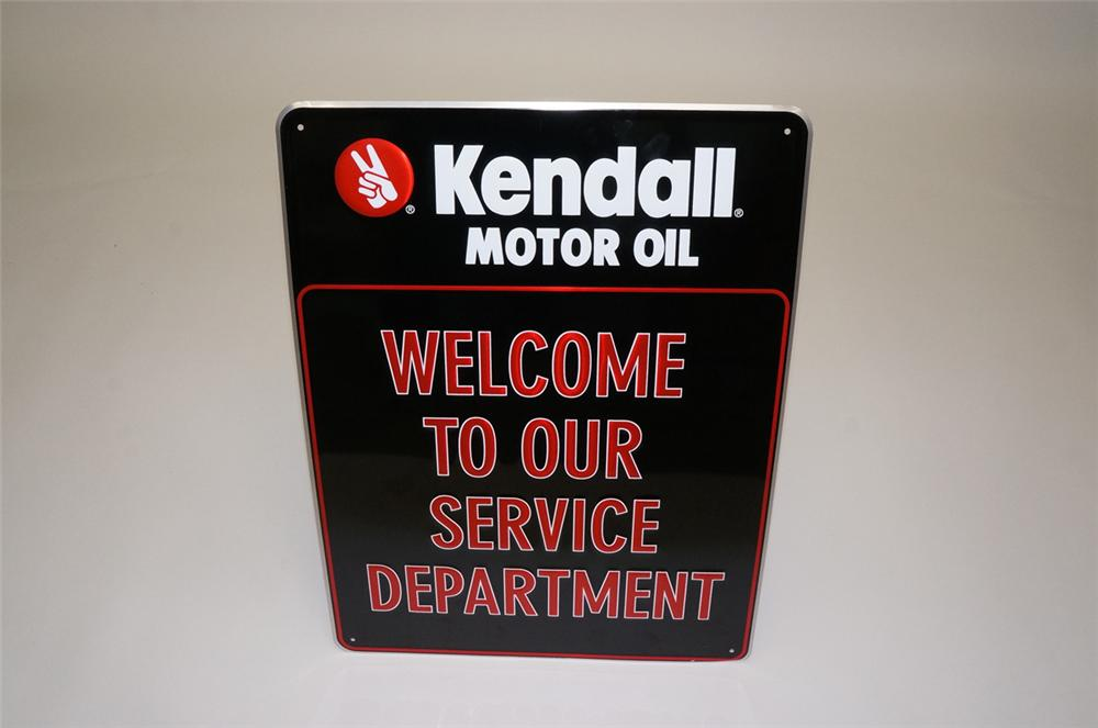 """N.O.S. Kendall Motor Oil """"Welcome to Our Service Department"""" embossed tin garage sign. - Front 3/4 - 133426"""