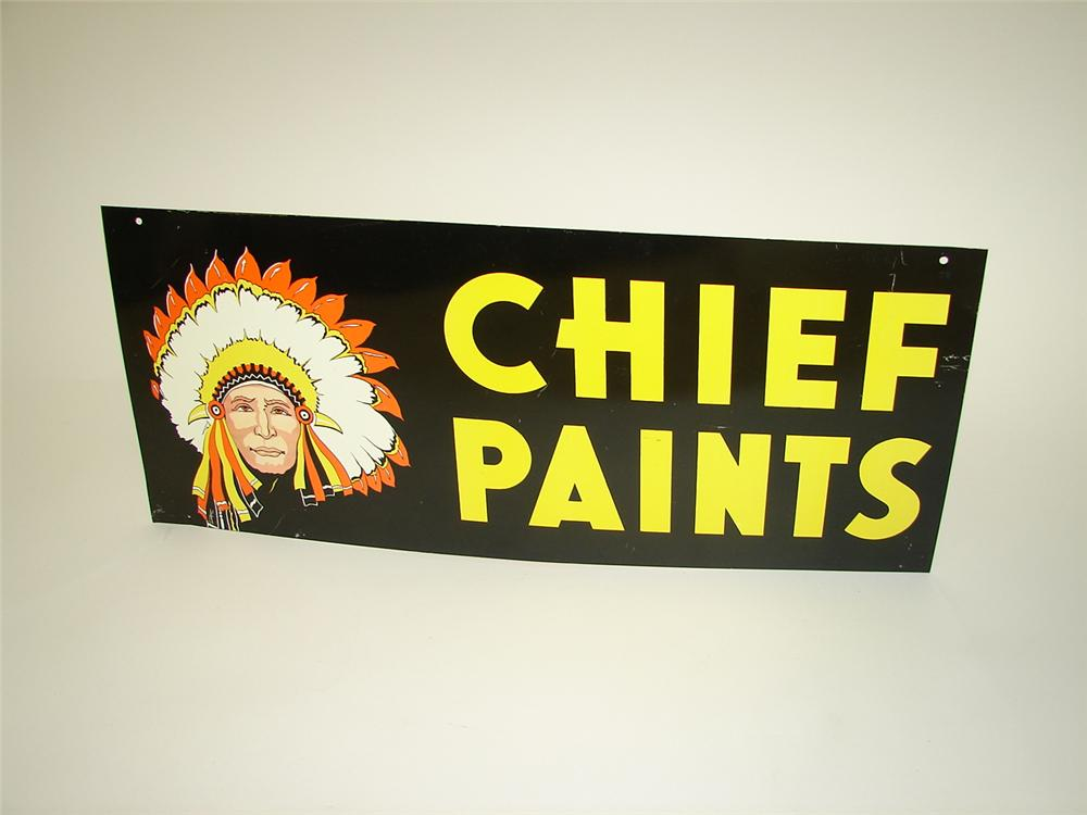 N.O.S. 1960s Chief Paints double-sided tin painted general store sign with Chieftain logo. - Front 3/4 - 133432