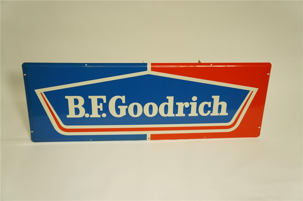 N.O.S. BF Goodrich horizontal tin garage sign.  Pulled out of the original shipping paper! - Front 3/4 - 133444