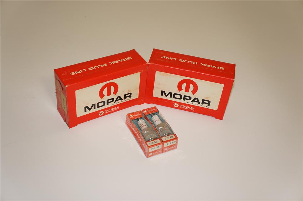 Lot of two 1960s Mopar Spark Plugs display boxes still full of ten N.O.S. plugs.  Can you say Hemi! - Front 3/4 - 133449