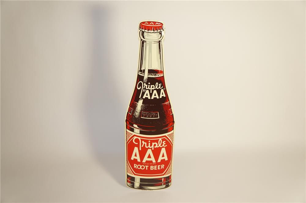 N.O.S 1948 Triple A Root Beer die-cut tin bottle shaped sign.  Pulled out of the original shipping paper. - Front 3/4 - 133451