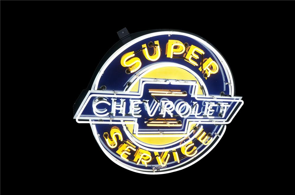 Superlative 1940s-50s Chevrolet Super Service single-sided neon porcelain dealership sign. - Front 3/4 - 133453