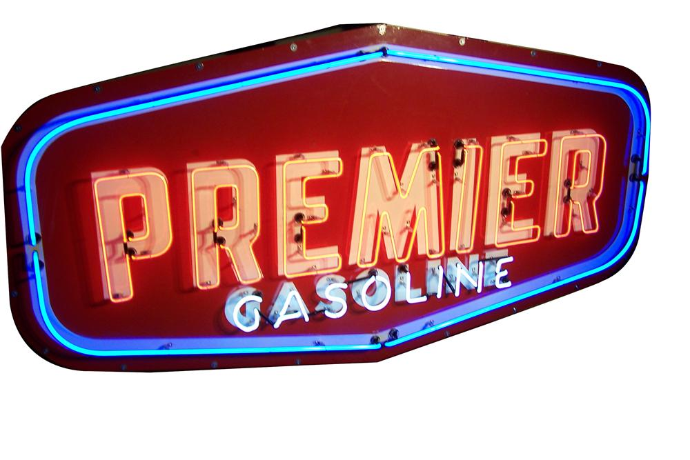 Huge 1950s Premier Gasoline (Dallas-Fort Worth) single-sided porcelain neon service station sign. - Front 3/4 - 133454